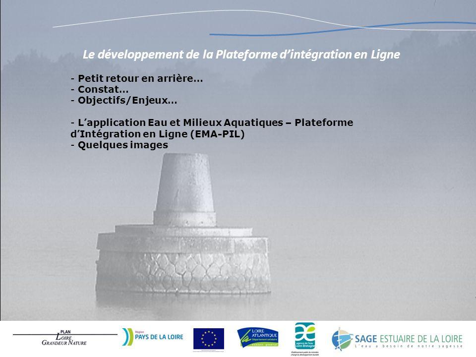 Le développement de la Plateforme dintégration en Ligne - Petit retour en arrière… - Constat… - Objectifs/Enjeux… - Lapplication Eau et Milieux Aquati