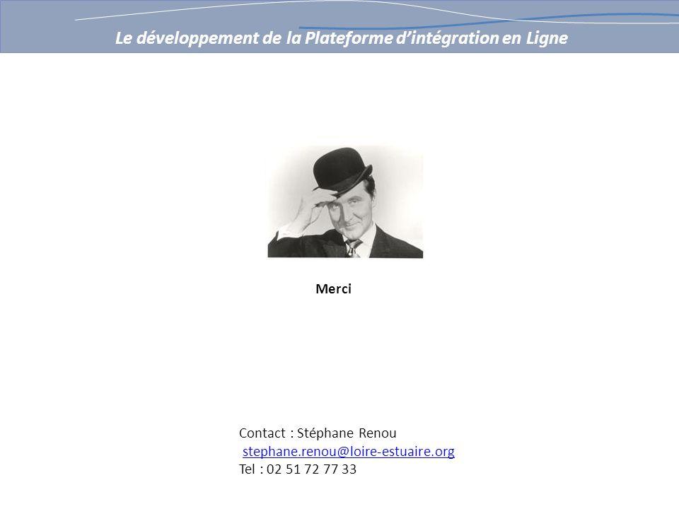 Merci Le développement de la Plateforme dintégration en Ligne Contact : Stéphane Renou stephane.renou@loire-estuaire.org Tel : 02 51 72 77 33
