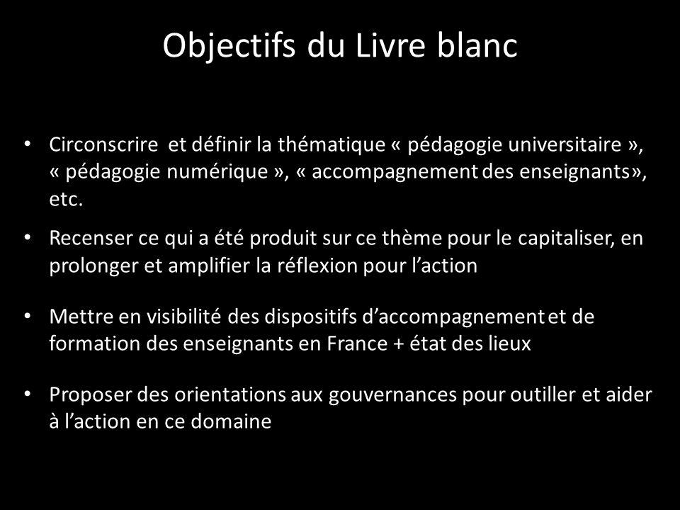 Objectifs du Livre blanc Circonscrire et définir la thématique « pédagogie universitaire », « pédagogie numérique », « accompagnement des enseignants», etc.