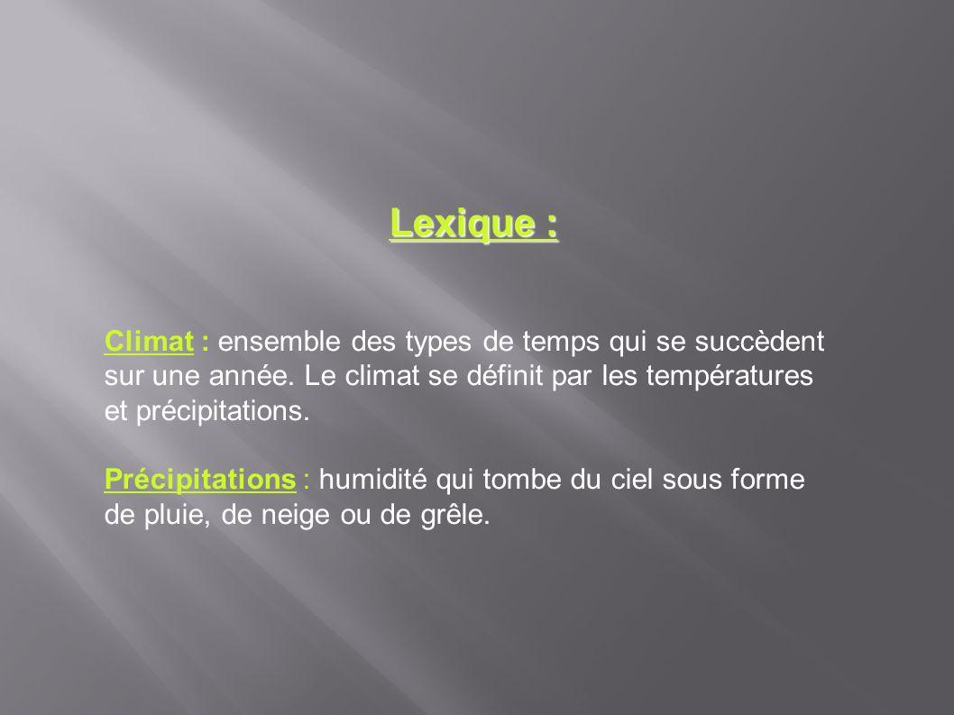 Lexique : Climat : ensemble des types de temps qui se succèdent sur une année. Le climat se définit par les températures et précipitations. Précipitat