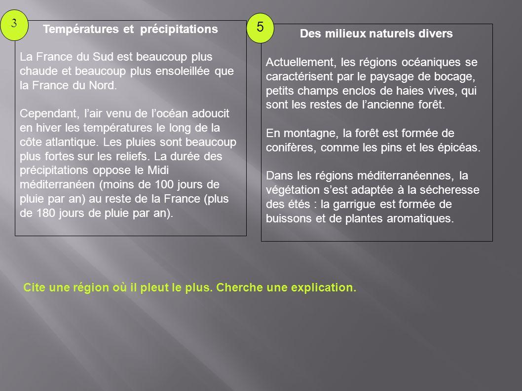 Températures et précipitations La France du Sud est beaucoup plus chaude et beaucoup plus ensoleillée que la France du Nord. Cependant, lair venu de l