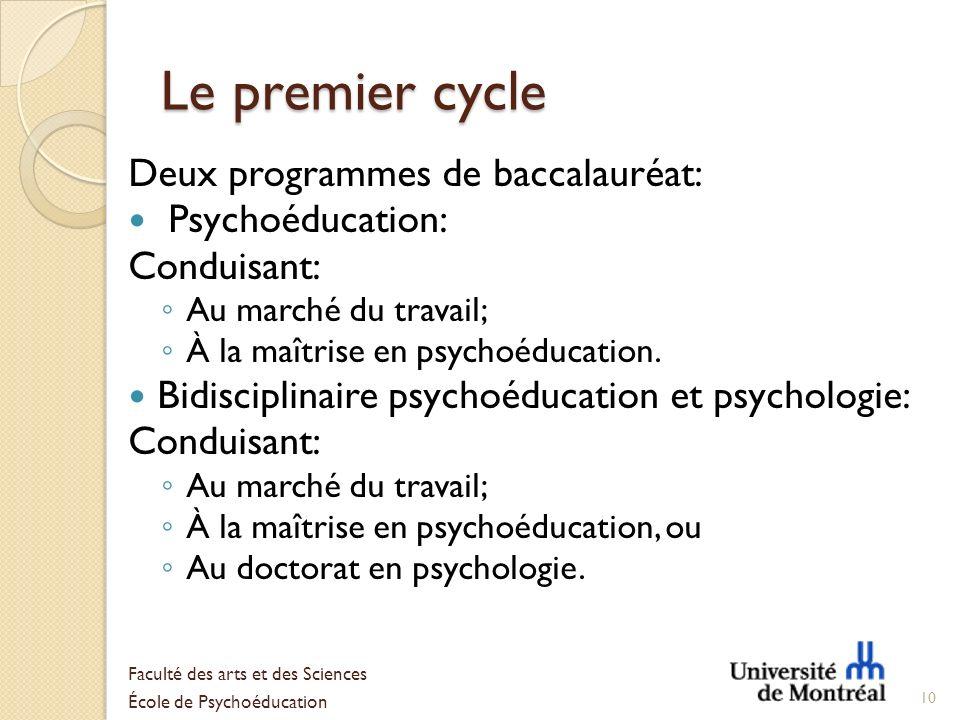 Le premier cycle Deux programmes de baccalauréat: Psychoéducation: Conduisant: Au marché du travail; À la maîtrise en psychoéducation. Bidisciplinaire