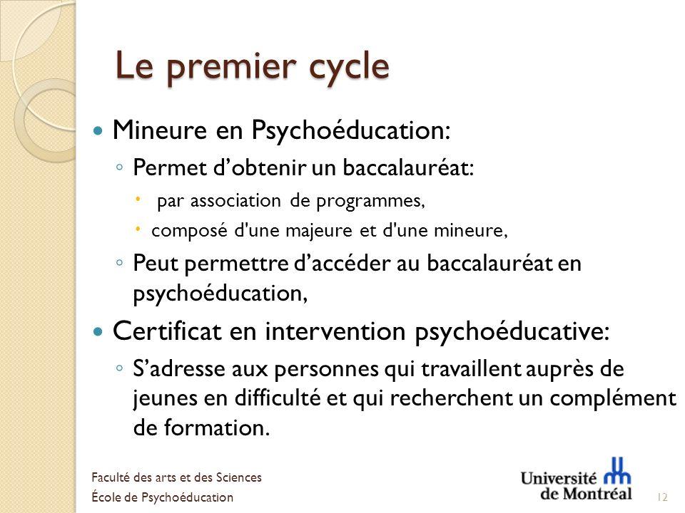 Le premier cycle Mineure en Psychoéducation: Permet dobtenir un baccalauréat: par association de programmes, composé d'une majeure et d'une mineure, P