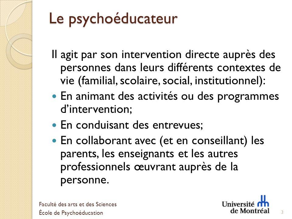 Le psychoéducateur Il agit par son intervention directe auprès des personnes dans leurs différents contextes de vie (familial, scolaire, social, insti