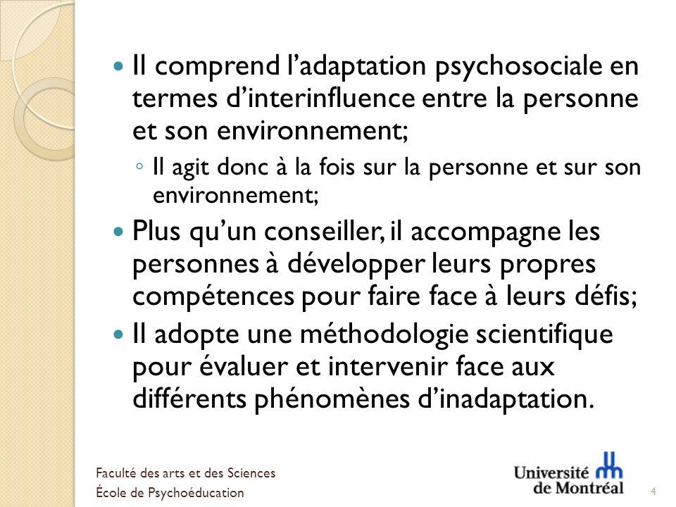 Il comprend ladaptation psychosociale en termes dinterinfluence entre la personne et son environnement; Il agit donc à la fois sur la personne et sur
