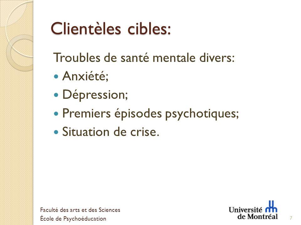 Clientèles cibles: Troubles de santé mentale divers: Anxiété; Dépression; Premiers épisodes psychotiques; Situation de crise. 7 Faculté des arts et de