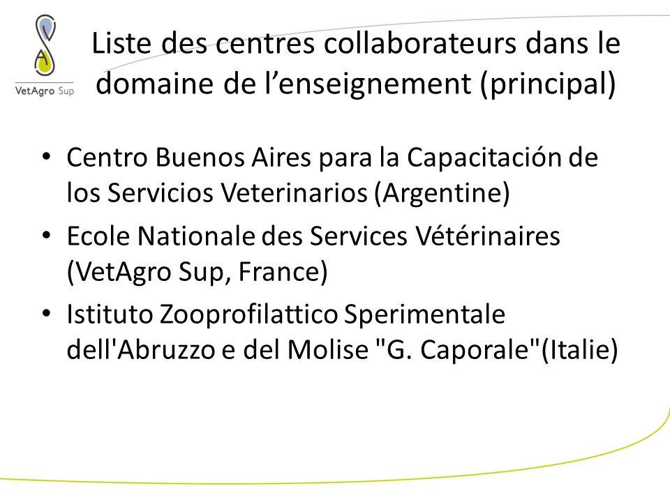 Liste des centres collaborateurs dans le domaine de lenseignement (principal) Centro Buenos Aires para la Capacitación de los Servicios Veterinarios (Argentine) Ecole Nationale des Services Vétérinaires (VetAgro Sup, France) Istituto Zooprofilattico Sperimentale dell Abruzzo e del Molise G.