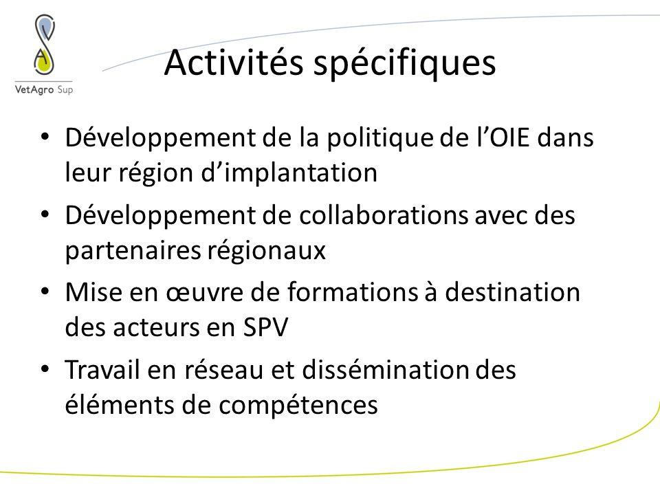 Activités spécifiques Développement de la politique de lOIE dans leur région dimplantation Développement de collaborations avec des partenaires régionaux Mise en œuvre de formations à destination des acteurs en SPV Travail en réseau et dissémination des éléments de compétences