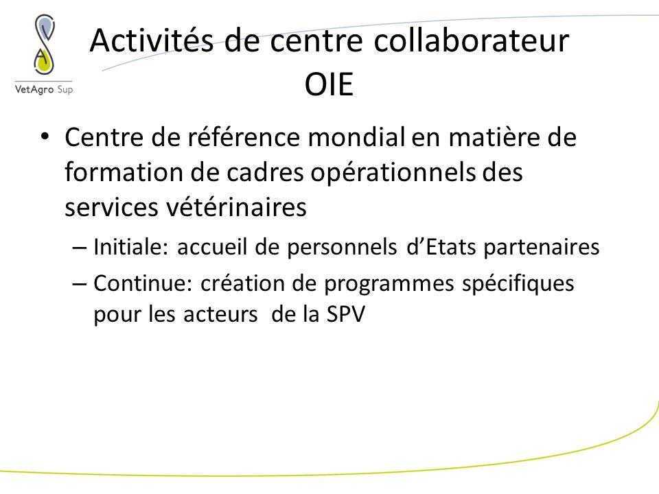 Activités de centre collaborateur OIE Centre de référence mondial en matière de formation de cadres opérationnels des services vétérinaires – Initiale: accueil de personnels dEtats partenaires – Continue: création de programmes spécifiques pour les acteurs de la SPV