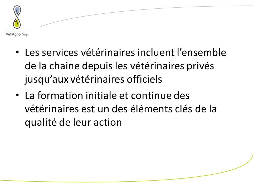 Les services vétérinaires incluent lensemble de la chaine depuis les vétérinaires privés jusquaux vétérinaires officiels La formation initiale et continue des vétérinaires est un des éléments clés de la qualité de leur action