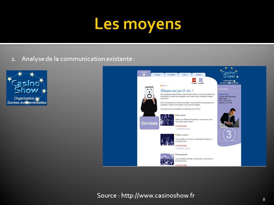 8 1.Analyse de la communication existante : Source : http://www.casinoshow.fr
