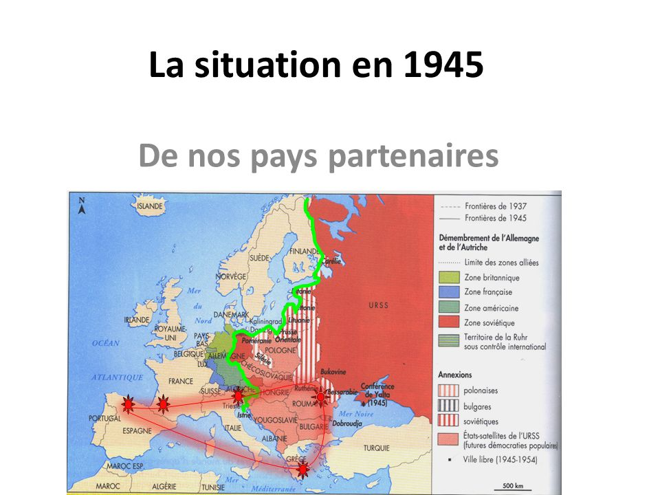 La situation en 1945 De nos pays partenaires
