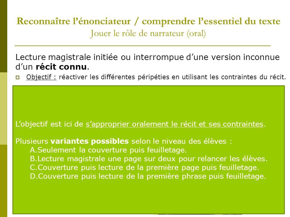 Lecture magistrale initiée ou interrompue dune version inconnue dun récit connu. Objectif : réactiver les différentes péripéties en utilisant les cont
