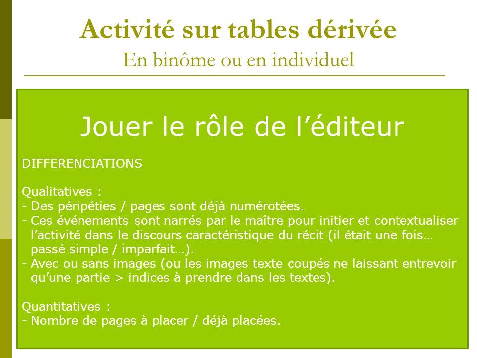 Activité sur tables dérivée En binôme ou en individuel Lindividualisation progressive de la tâche doit amener chaque élève à être capable de réorganis