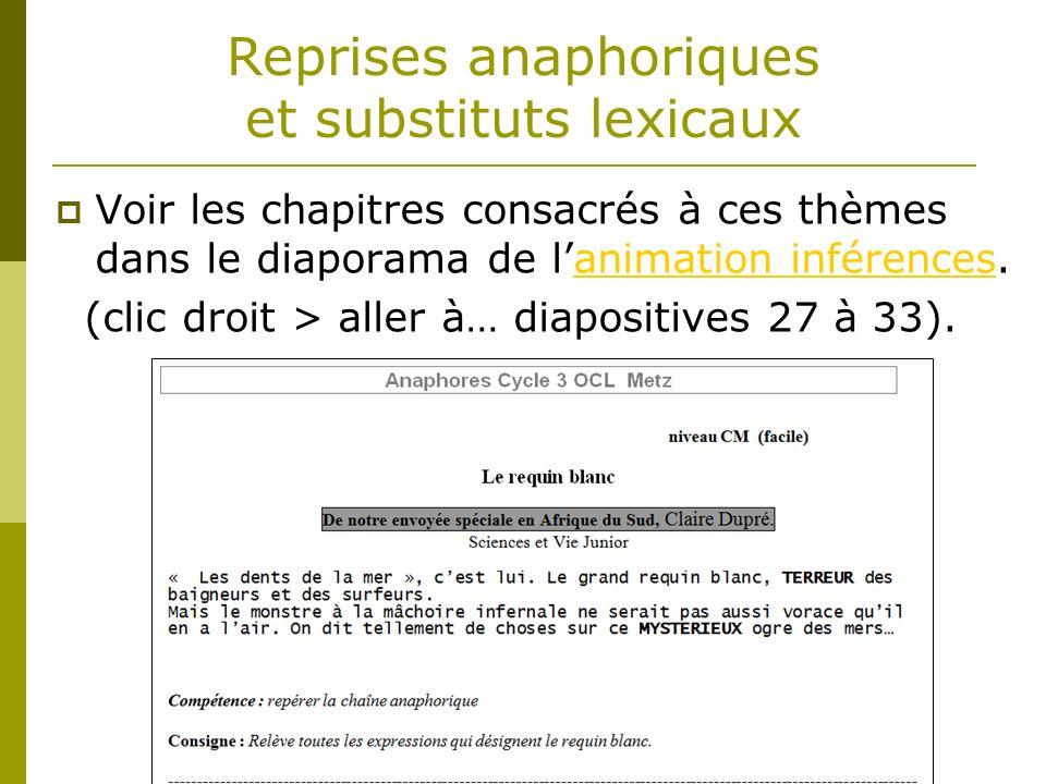 Reprises anaphoriques et substituts lexicaux Voir les chapitres consacrés à ces thèmes dans le diaporama de lanimation inférences.animation inférences