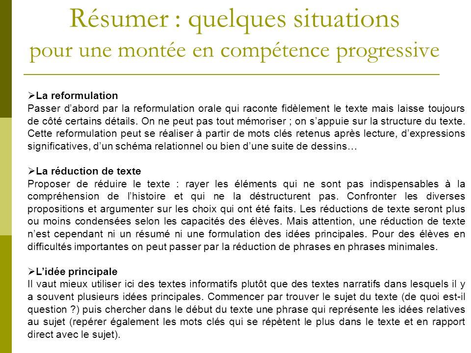 Résumer : quelques situations pour une montée en compétence progressive La reformulation Passer dabord par la reformulation orale qui raconte fidèleme