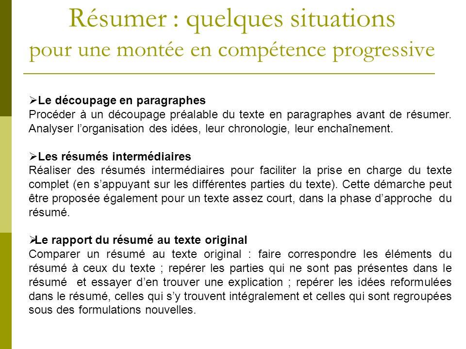 Le découpage en paragraphes Procéder à un découpage préalable du texte en paragraphes avant de résumer. Analyser lorganisation des idées, leur chronol