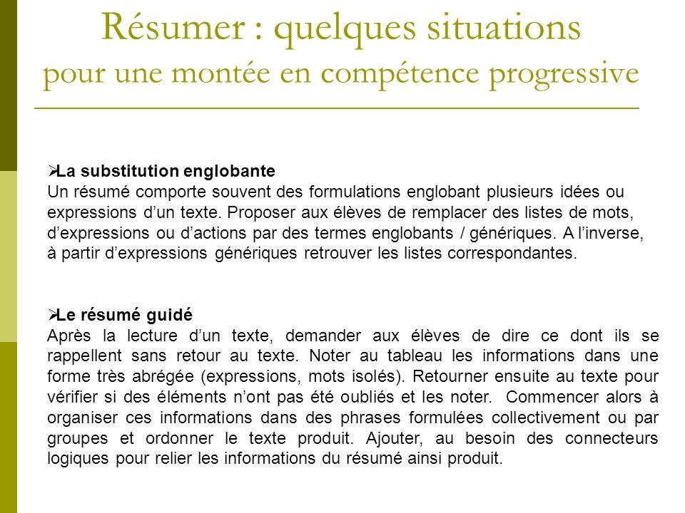 La substitution englobante Un résumé comporte souvent des formulations englobant plusieurs idées ou expressions dun texte. Proposer aux élèves de remp