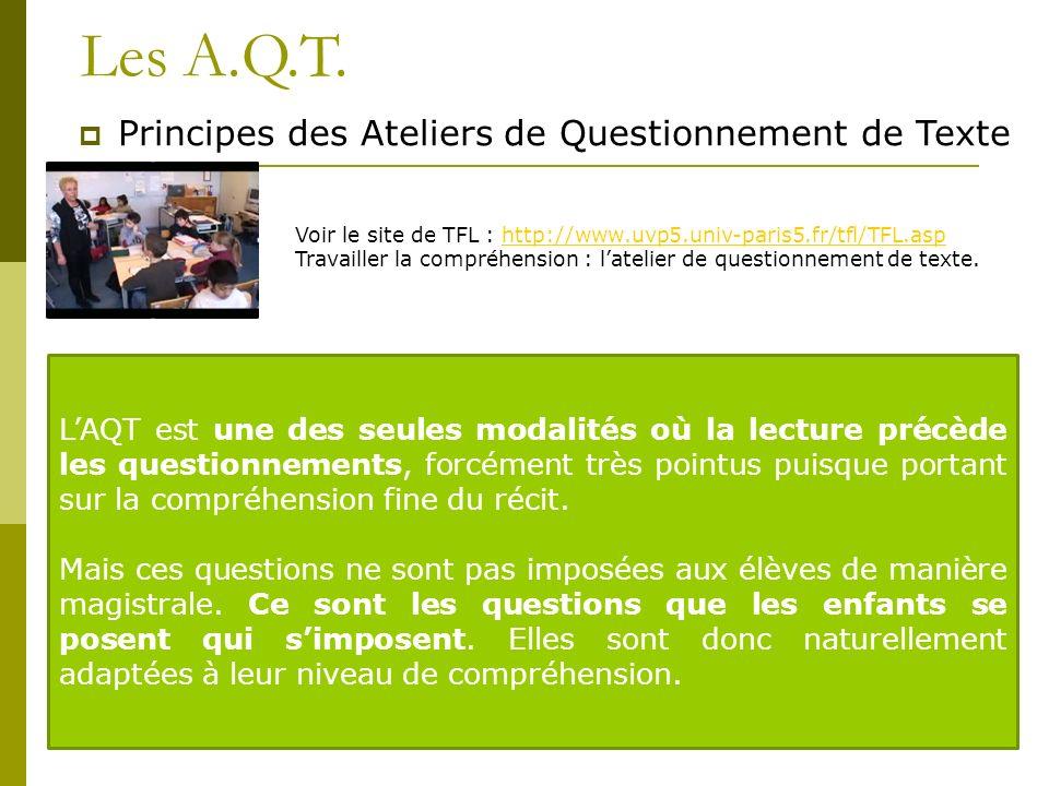 Les A.Q.T. Principes des Ateliers de Questionnement de Texte Voir le site de TFL : http://www.uvp5.univ-paris5.fr/tfl/TFL.asphttp://www.uvp5.univ-pari