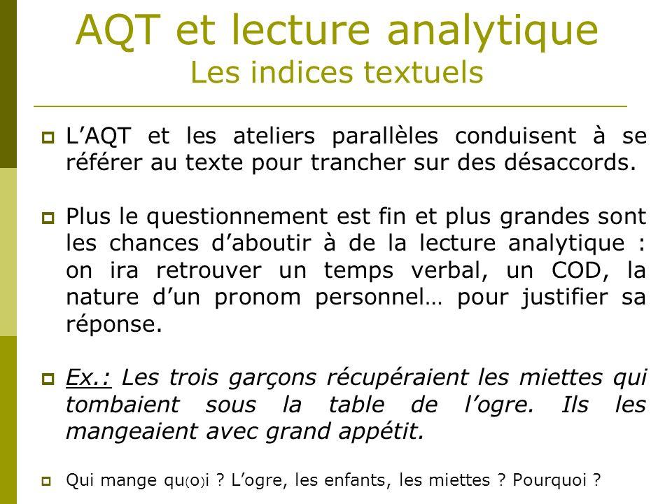 AQT et lecture analytique Les indices textuels LAQT et les ateliers parallèles conduisent à se référer au texte pour trancher sur des désaccords. Plus