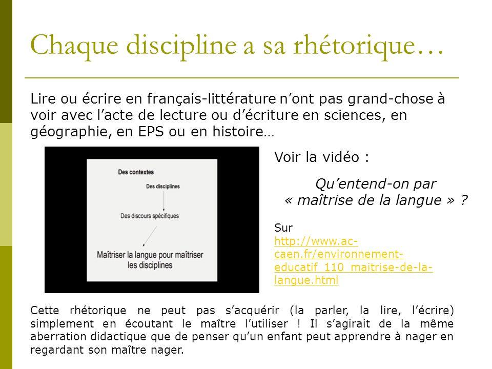 Lire ou écrire en français-littérature nont pas grand-chose à voir avec lacte de lecture ou décriture en sciences, en géographie, en EPS ou en histoir