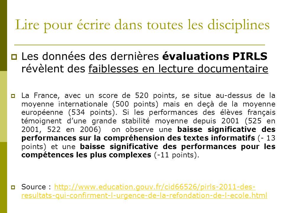 Lire pour écrire dans toutes les disciplines Les données des dernières évaluations PIRLS révèlent des faiblesses en lecture documentaire La France, av