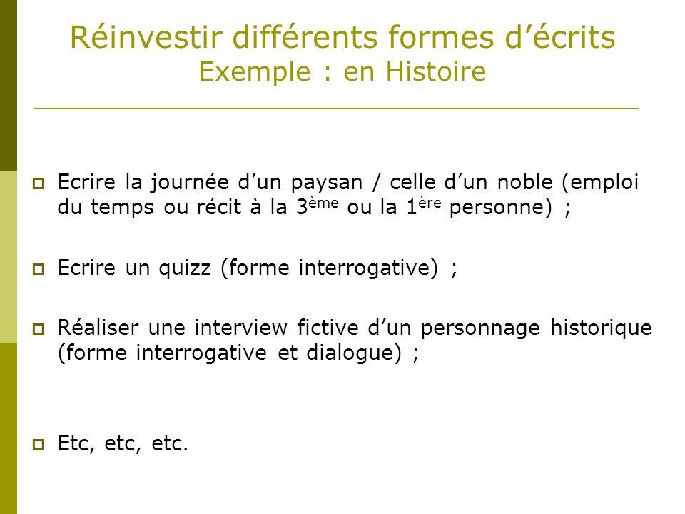 Réinvestir différents formes décrits Exemple : en Histoire Ecrire la journée dun paysan / celle dun noble (emploi du temps ou récit à la 3 ème ou la 1