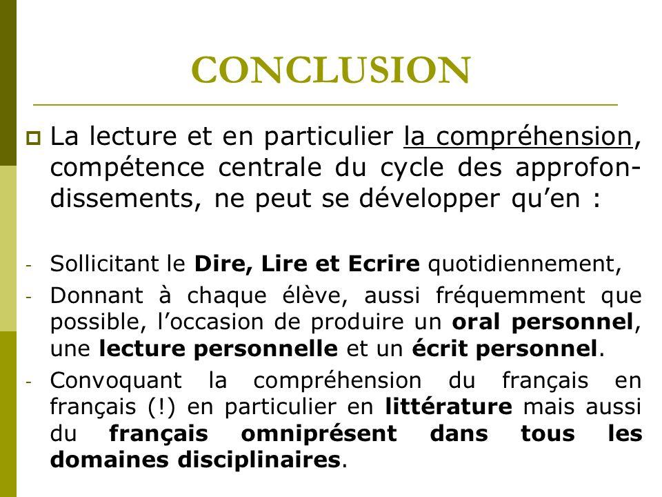 CONCLUSION La lecture et en particulier la compréhension, compétence centrale du cycle des approfon- dissements, ne peut se développer quen : - Sollic