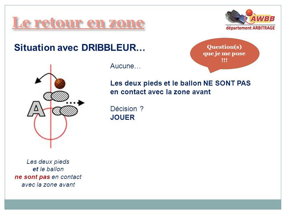 Situation avec DRIBBLEUR… Aucune… Les deux pieds et le ballon NE SONT PAS en contact avec la zone avant Décision ? JOUER Les deux pieds et le ballon n