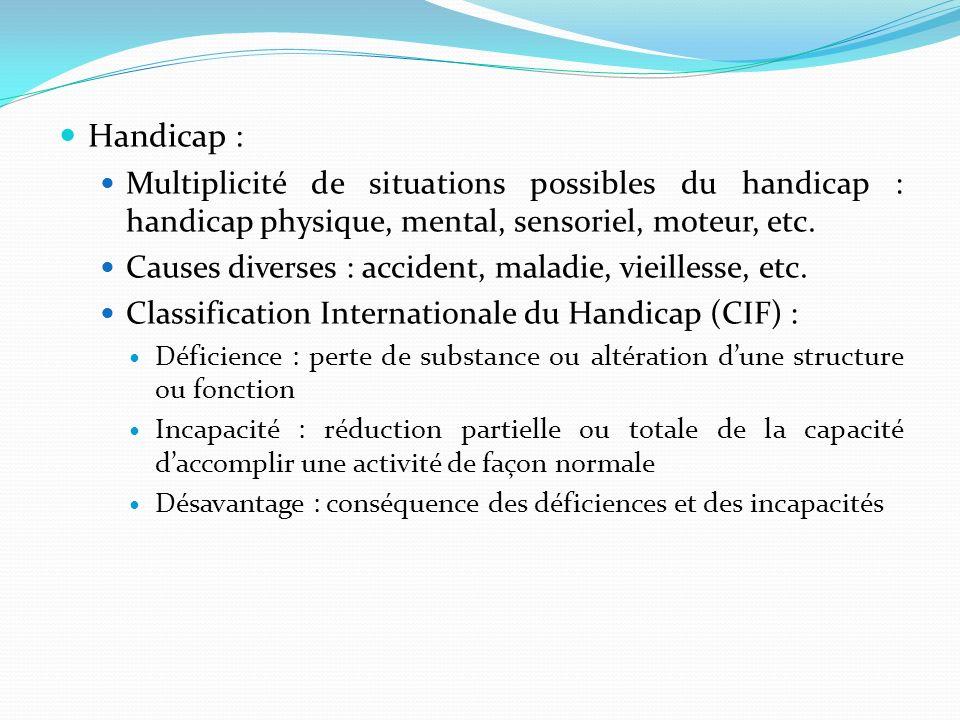 Handicap : Multiplicité de situations possibles du handicap : handicap physique, mental, sensoriel, moteur, etc. Causes diverses : accident, maladie,