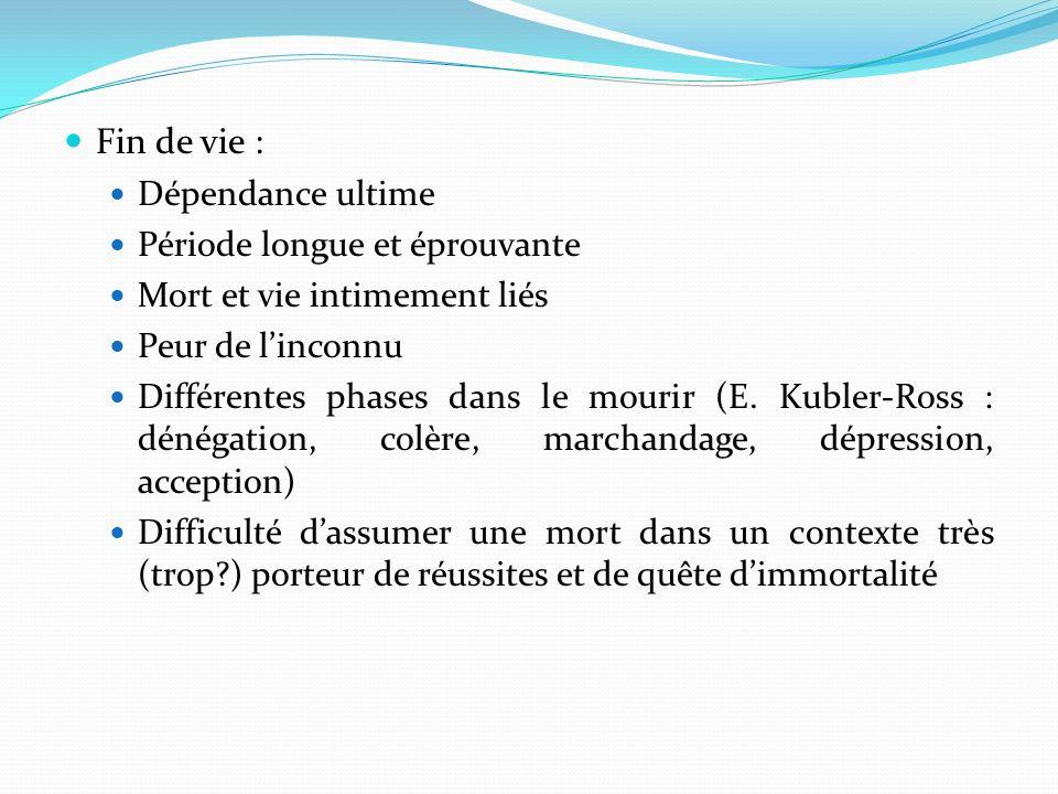 Fin de vie : Dépendance ultime Période longue et éprouvante Mort et vie intimement liés Peur de linconnu Différentes phases dans le mourir (E. Kubler-