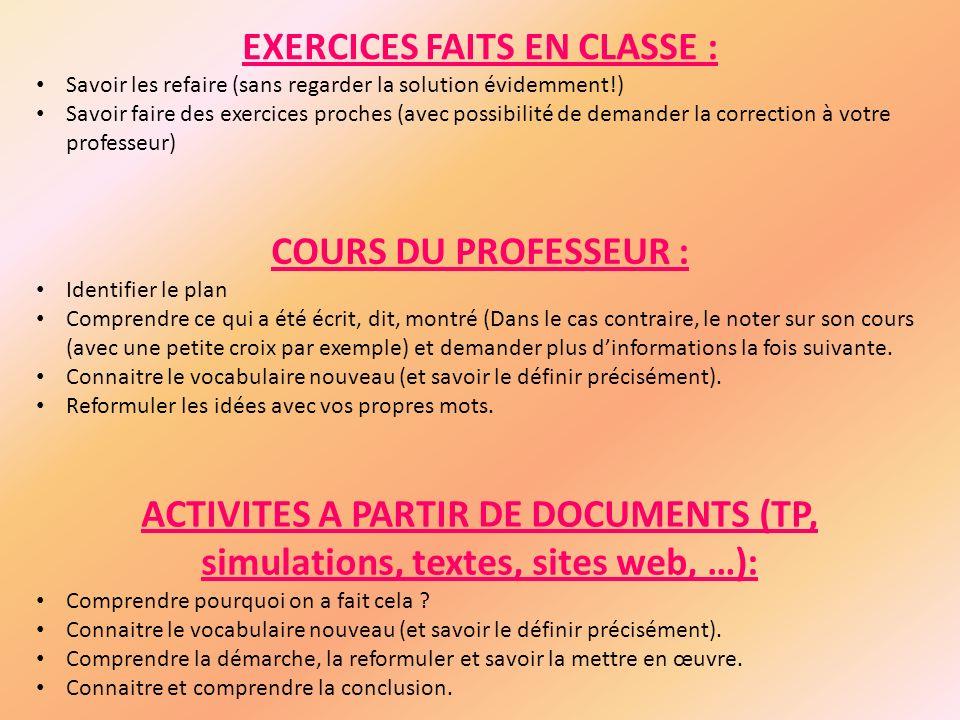 EXERCICES FAITS EN CLASSE : Savoir les refaire (sans regarder la solution évidemment!) Savoir faire des exercices proches (avec possibilité de demande