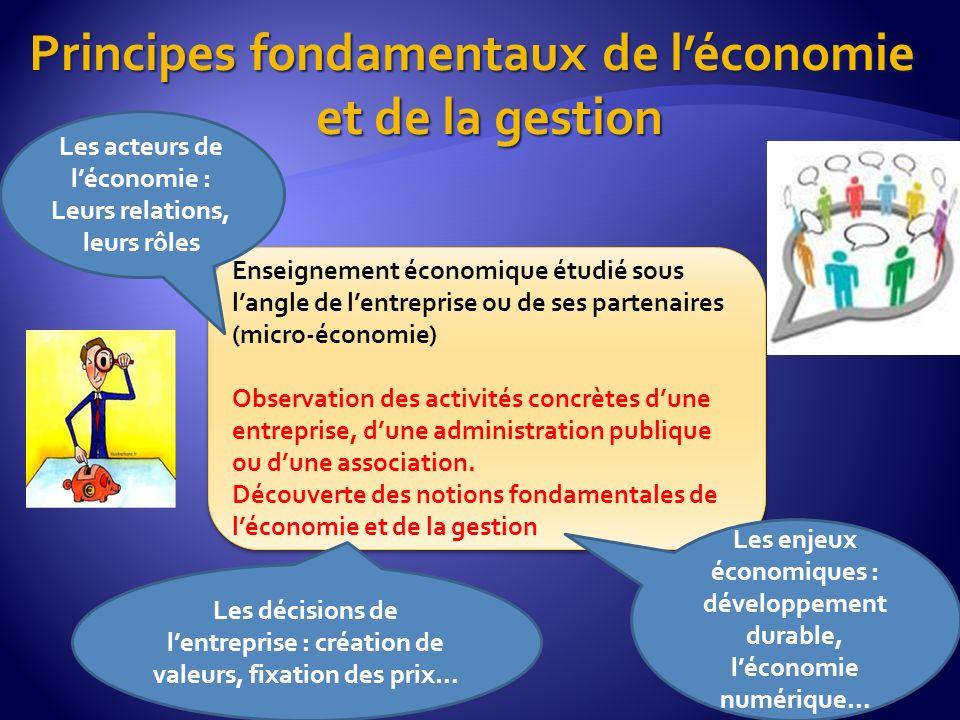 Principes fondamentaux de léconomie et de la gestion Enseignement économique étudié sous langle de lentreprise ou de ses partenaires (micro-économie)