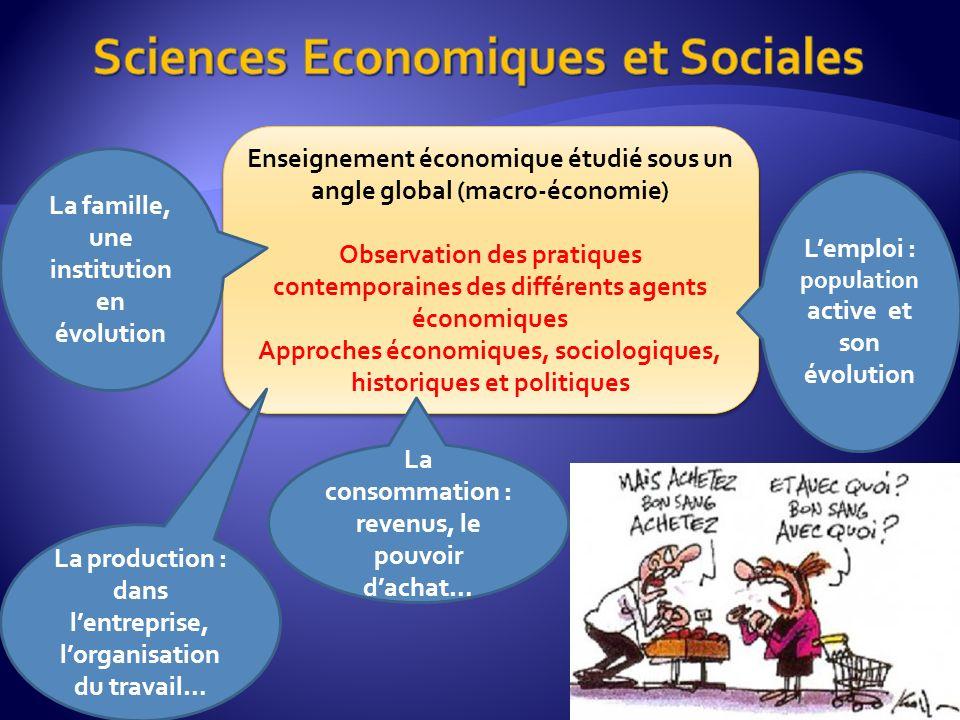 Enseignement économique étudié sous un angle global (macro-économie) Observation des pratiques contemporaines des différents agents économiques Approc