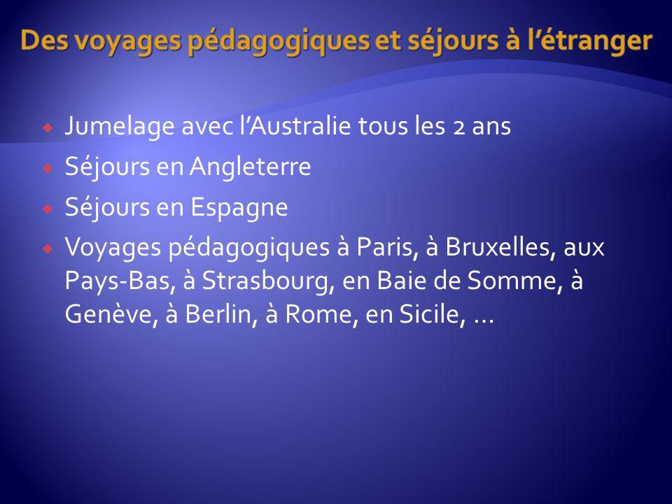 Jumelage avec lAustralie tous les 2 ans Séjours en Angleterre Séjours en Espagne Voyages pédagogiques à Paris, à Bruxelles, aux Pays-Bas, à Strasbourg, en Baie de Somme, à Genève, à Berlin, à Rome, en Sicile, …