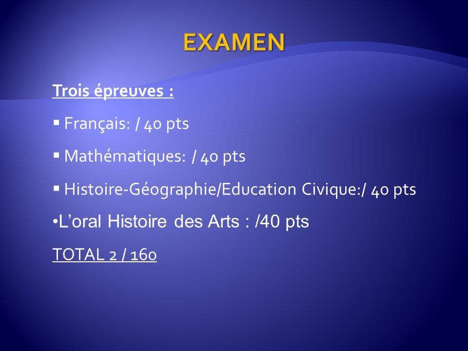Trois épreuves : Français: / 40 pts Mathématiques: / 40 pts Histoire-Géographie/Education Civique:/ 40 pts Loral Histoire des Arts : /40 pts TOTAL 2 / 160
