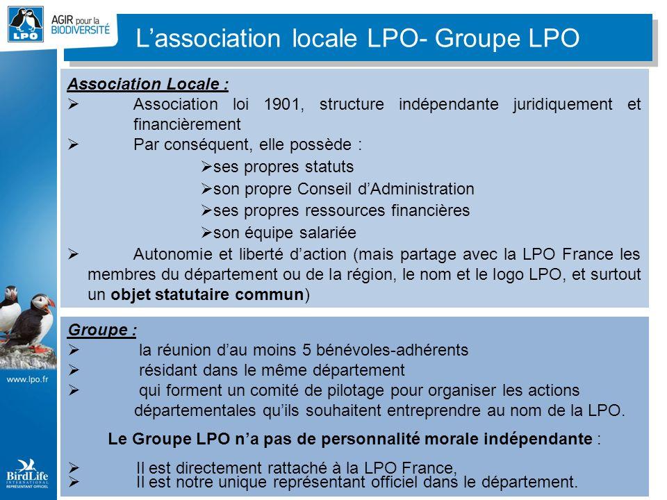 Association Locale : Association loi 1901, structure indépendante juridiquement et financièrement Par conséquent, elle possède : ses propres statuts s