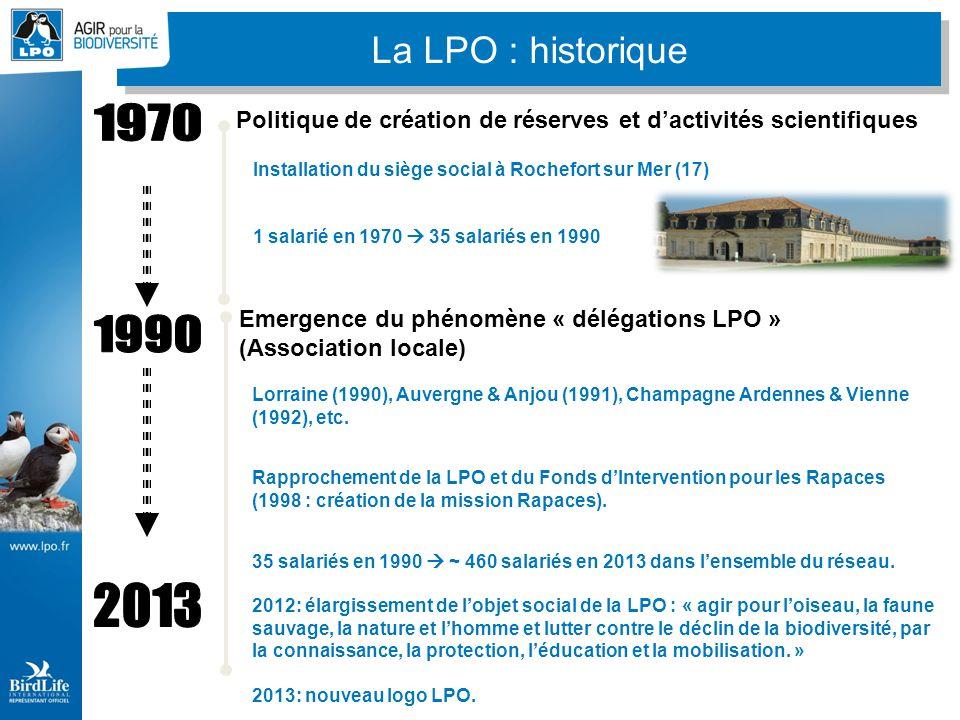 - 100 ans dexistence en 2012 - ~ 46 000 membres en France - Présence en 2013 dans 77 départements : 10 groupes et 33 associations locales (7 régionales) - 13,5 millions d de budget pour la LPO France en 2011 - ~ 460 salariés à la LPO France + réseau La LPO en quelques chiffres