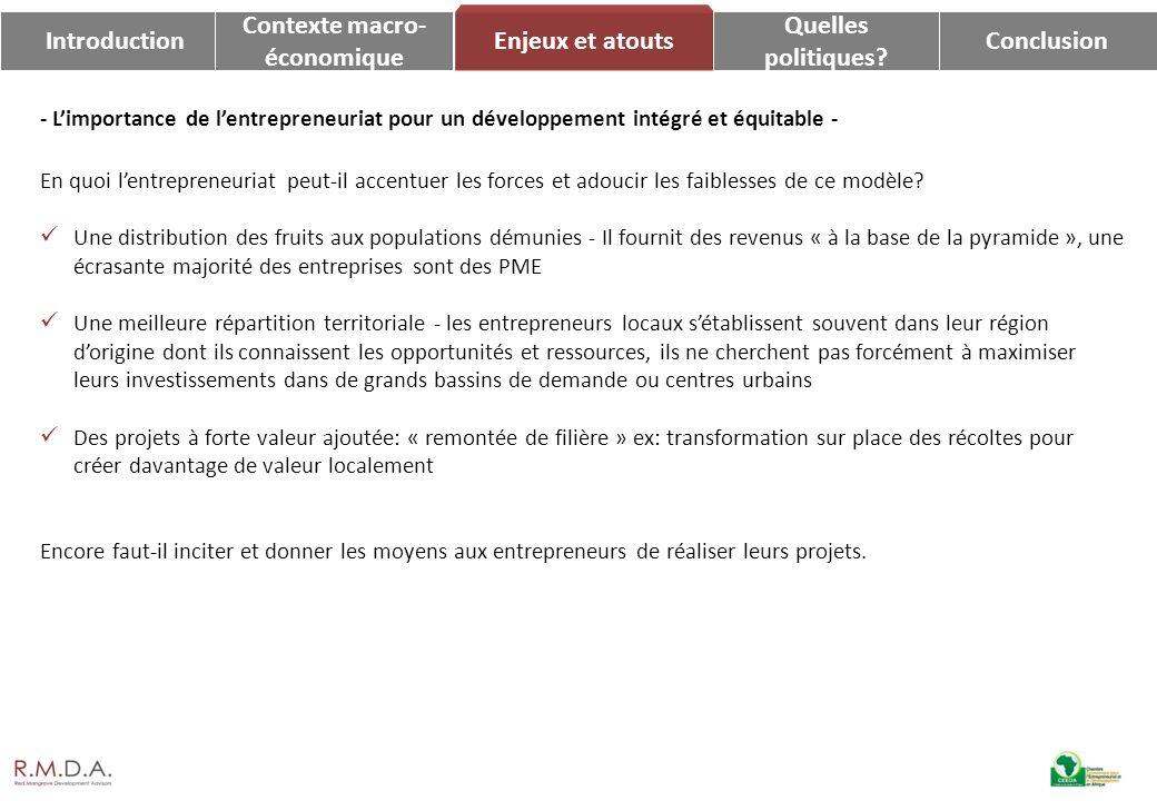 IntroductionConclusion Enjeux et atouts Contexte macro- économique Quelles politiques? - Limportance de lentrepreneuriat pour un développement intégré