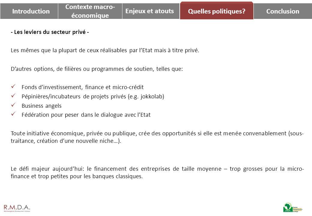 Enjeux et atoutsConclusion Quelles politiques? Introduction Contexte macro- économique - Les leviers du secteur privé - Les mêmes que la plupart de ce