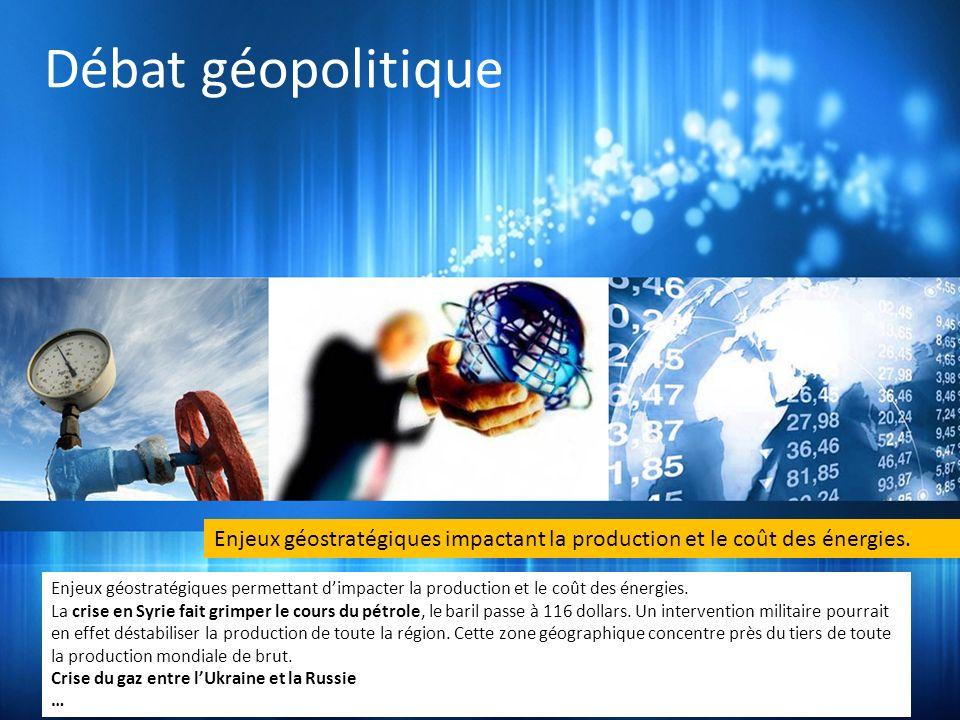 Débat géopolitique Enjeux géostratégiques permettant dimpacter la production et le coût des énergies. La crise en Syrie fait grimper le cours du pétro