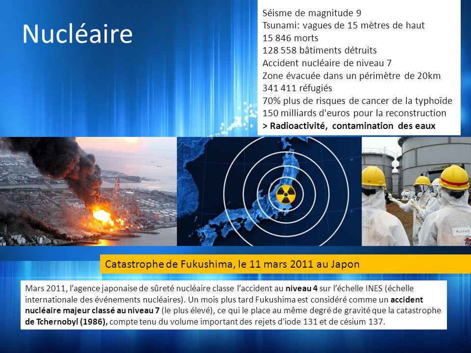 Nucléaire Catastrophe de Fukushima, le 11 mars 2011 au Japon Mars 2011, lagence japonaise de sûreté nucléaire classe laccident au niveau 4 sur léchelle INES (échelle internationale des événements nucléaires).