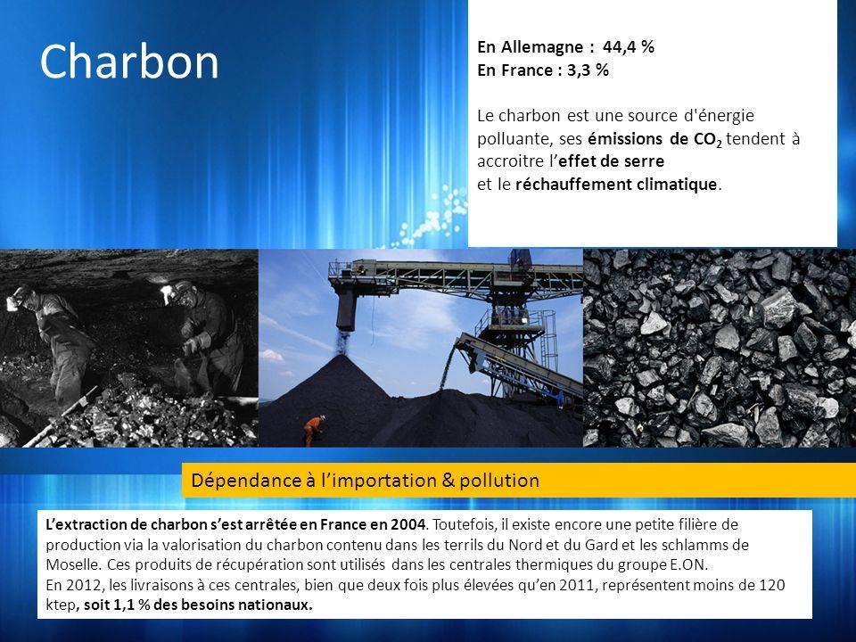 Charbon Dépendance à limportation & pollution Lextraction de charbon sest arrêtée en France en 2004. Toutefois, il existe encore une petite filière de
