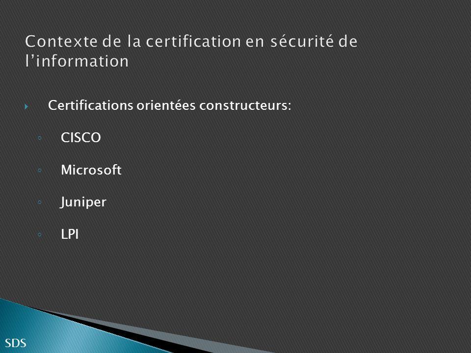 Certifications orientées constructeurs: CISCO Microsoft Juniper LPI SDS