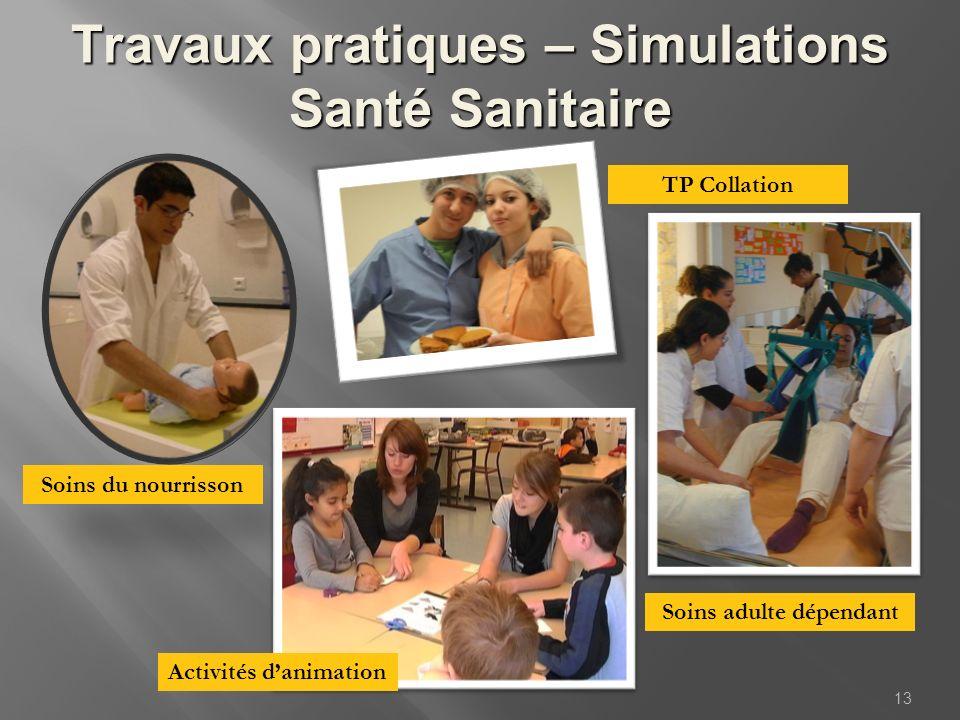 Travaux pratiques – Simulations Santé Sanitaire 13 Activités danimation Soins du nourrisson Soins adulte dépendant TP Collation
