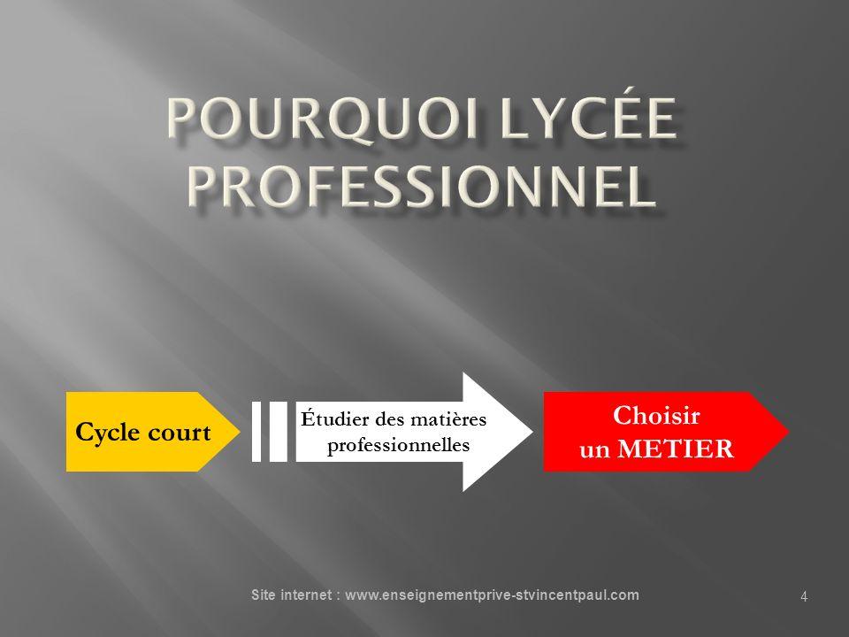 4 Cycle court Étudier des matières professionnelles Choisir un METIER