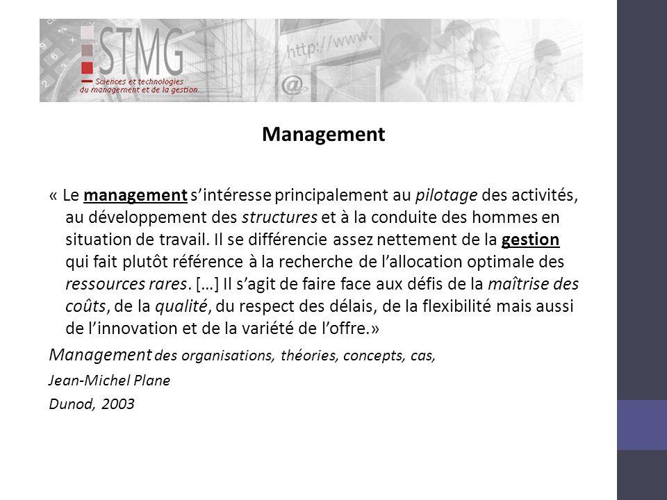 Management « Le management sintéresse principalement au pilotage des activités, au développement des structures et à la conduite des hommes en situation de travail.