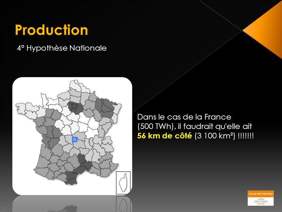 4° Hypothèse Nationale Dans le cas de la France (500 TWh), il faudrait qu'elle ait 56 km de côté (3 100 km²) !!!!!!!