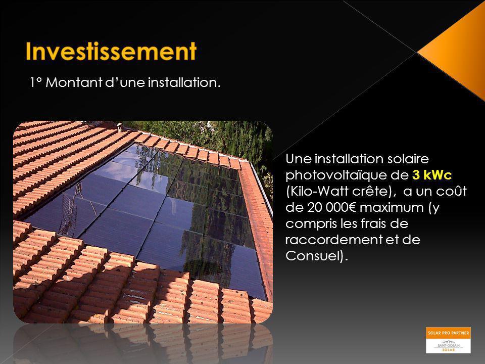 1° Montant dune installation. Une installation solaire photovoltaïque de 3 kWc (Kilo-Watt crête), a un coût de 20 000 maximum (y compris les frais de