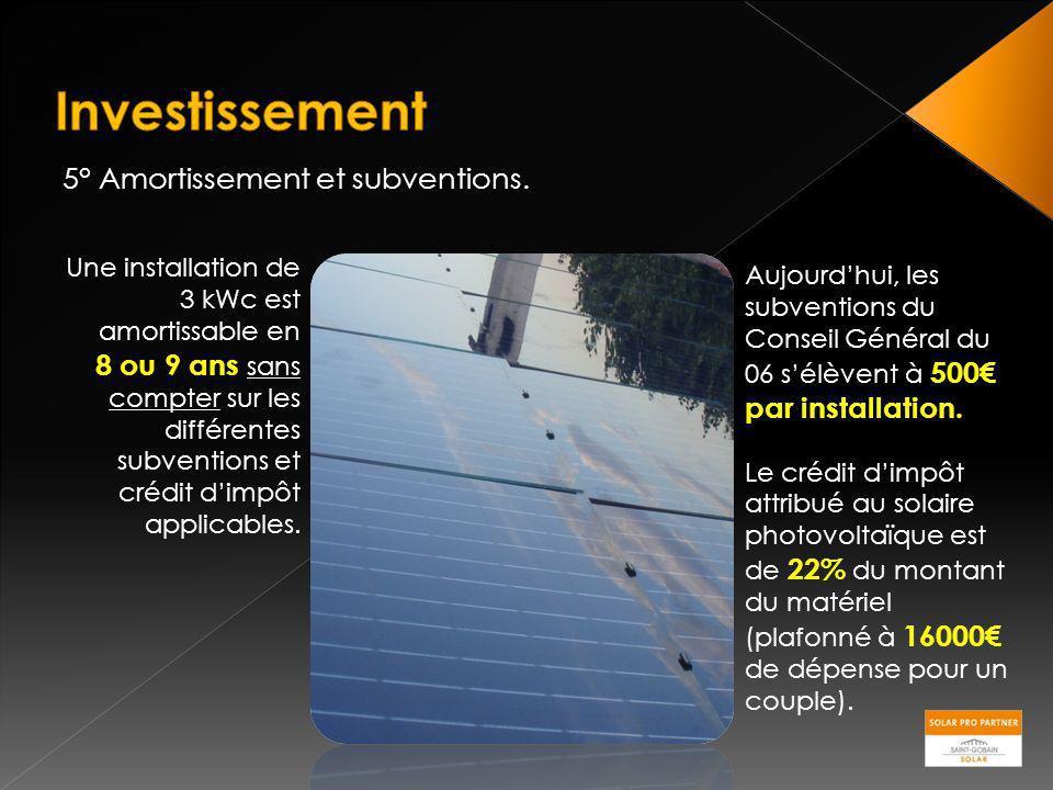 5° Amortissement et subventions. Une installation de 3 kWc est amortissable en 8 ou 9 ans sans compter sur les différentes subventions et crédit dimpô